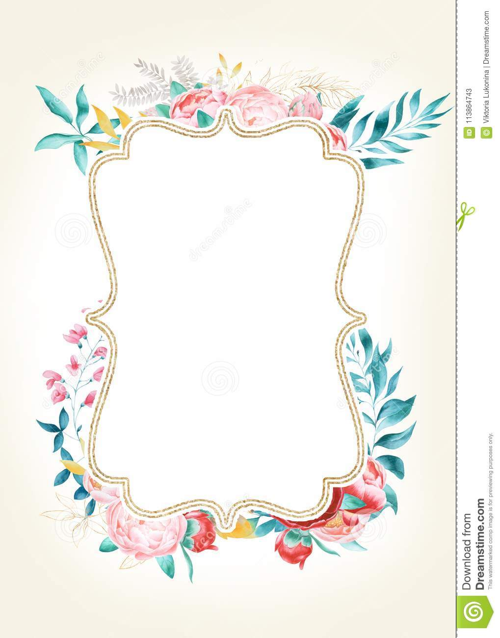 Card Template With Watercolor Peonies Stock Illustration