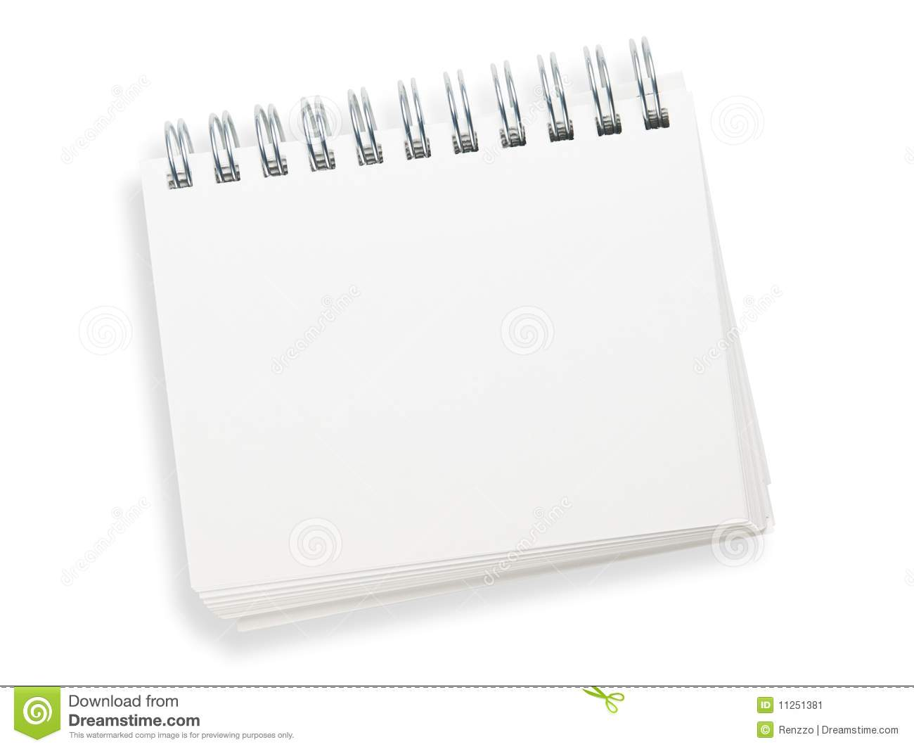 Blank spiral memo pad in a real-life roughly placed manner. Isolated ...