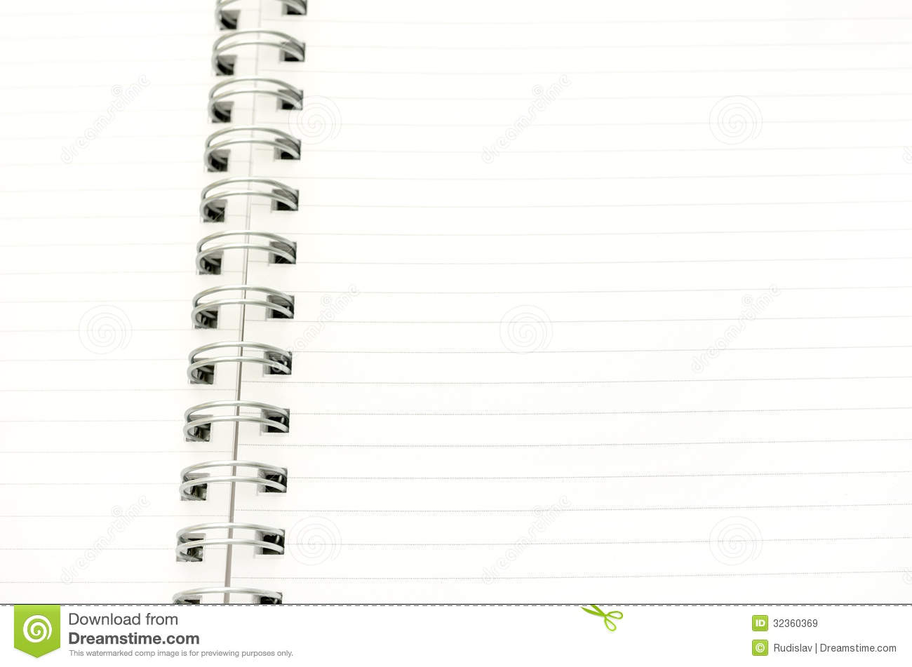 Closeup of blank spiral notebook  Empty space ready for your text or    Blank Spiral Notebook