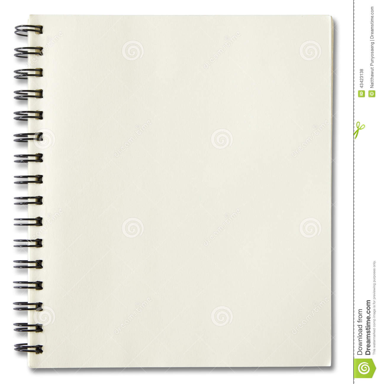 Blank Spiral Notebook Stock Photo Image 43423138