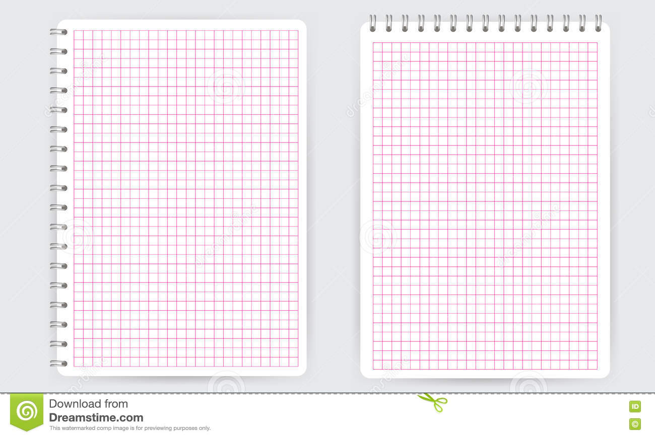 Blank Spiral Notepad Notebook. Thin Squared Math Grid Lines Stock ...