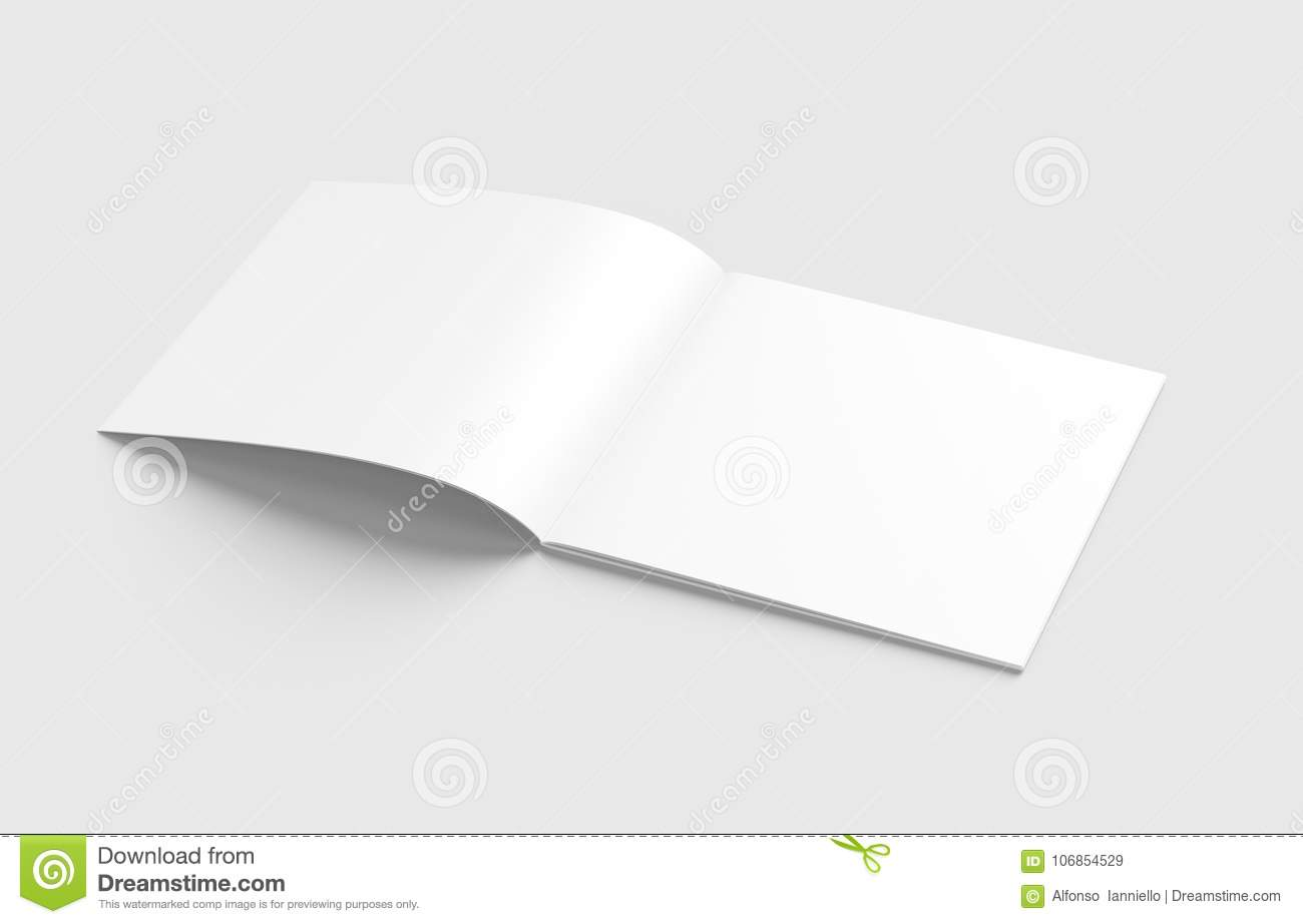 Blank square catalog mock up on white.