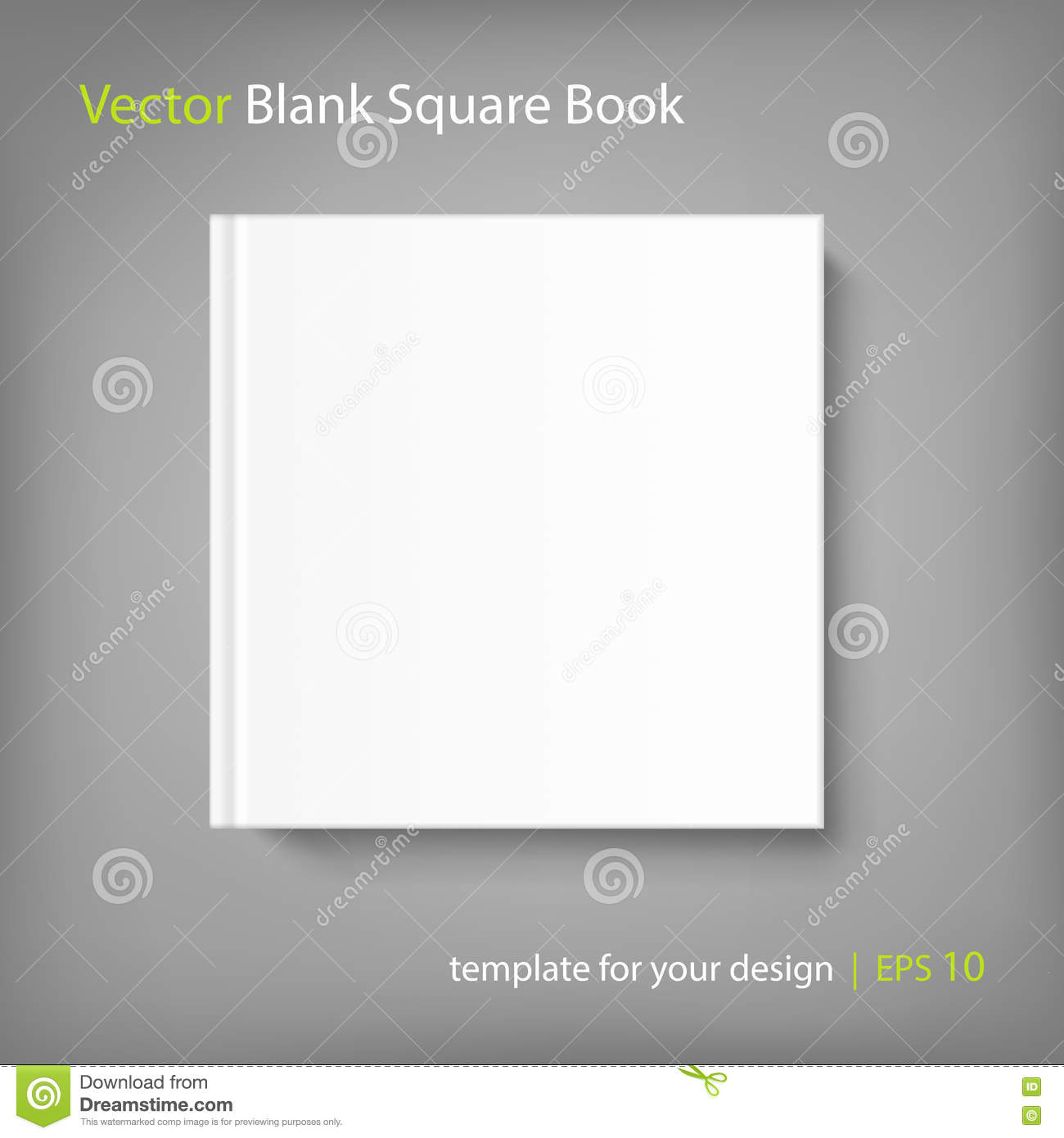 Blank Square Cover Book Template On Grey Background Stock