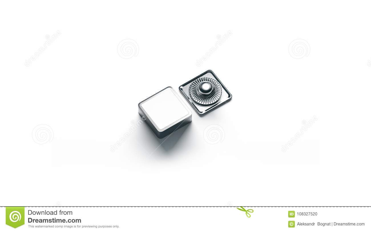 Blank Square White Metal Snap Button Mockup Isolated Stock Photo