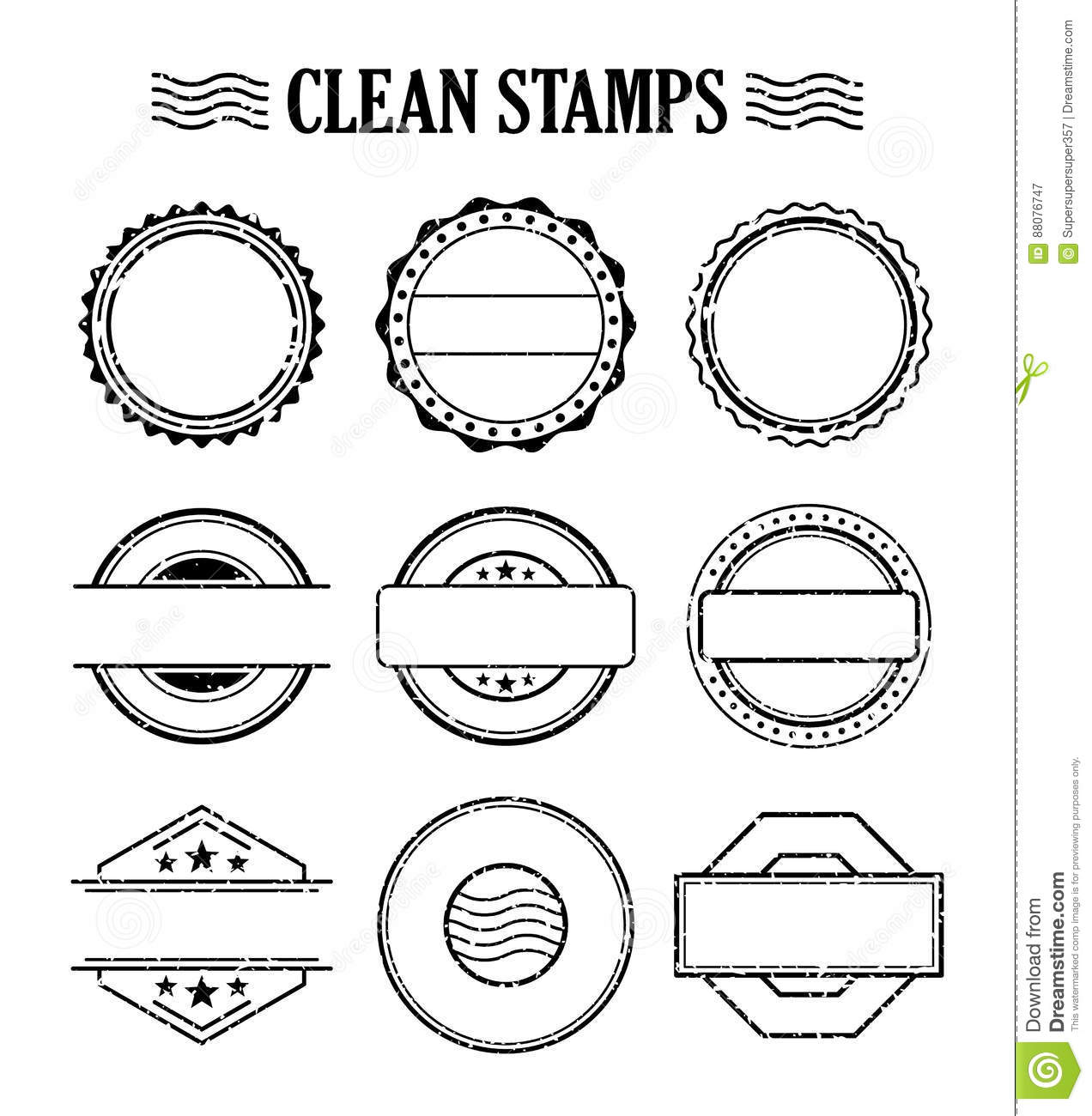 blank stamp set ink rubber seal texture effect stock vector