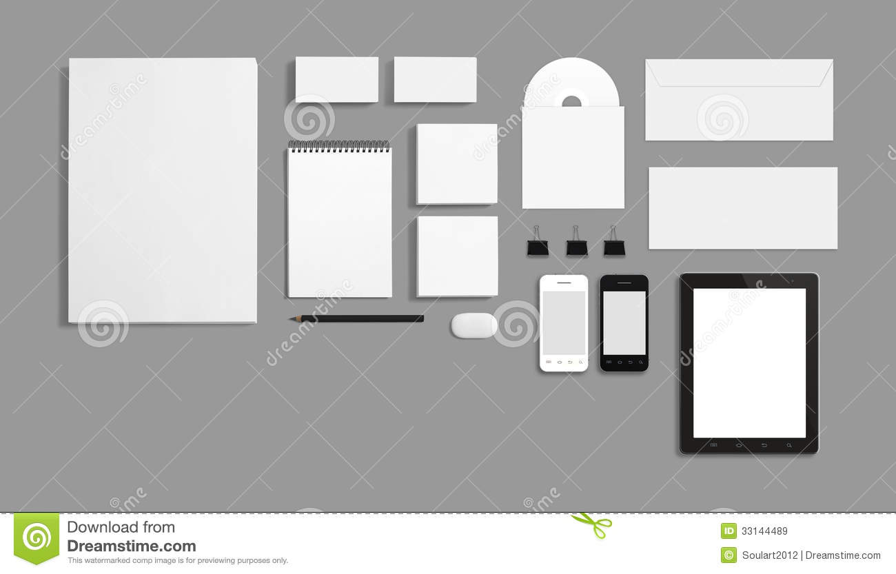 Blank Stationery Corporate ID Template Isolated On Grey Stock ...