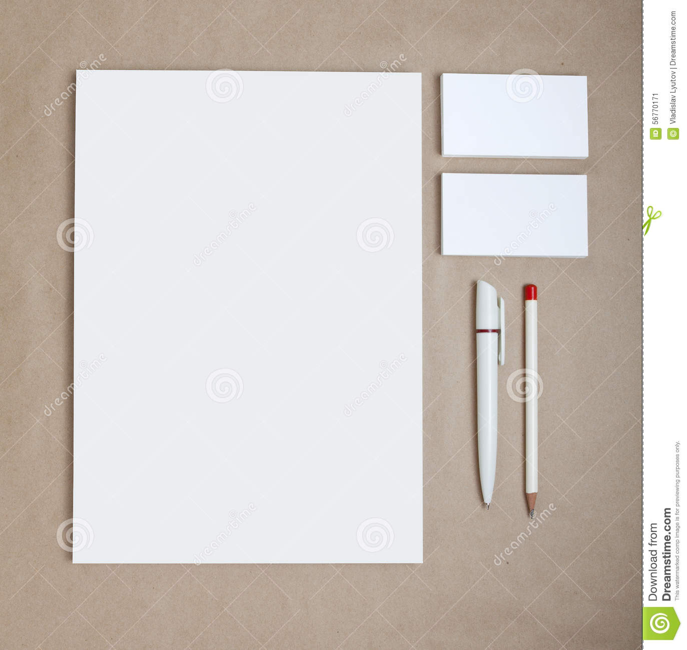 Blank stationery on craft paper consist of business cards for Craft paper card stock