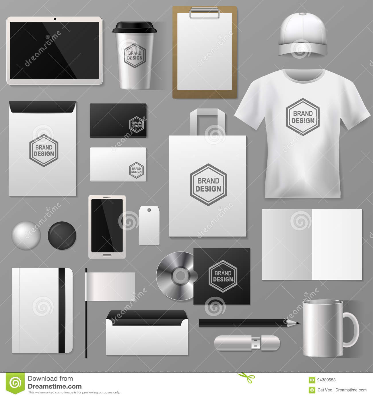 Blank Stationery And Corporate Identity Template Consist: Blank Stationery Set For Corporate Company Identity System