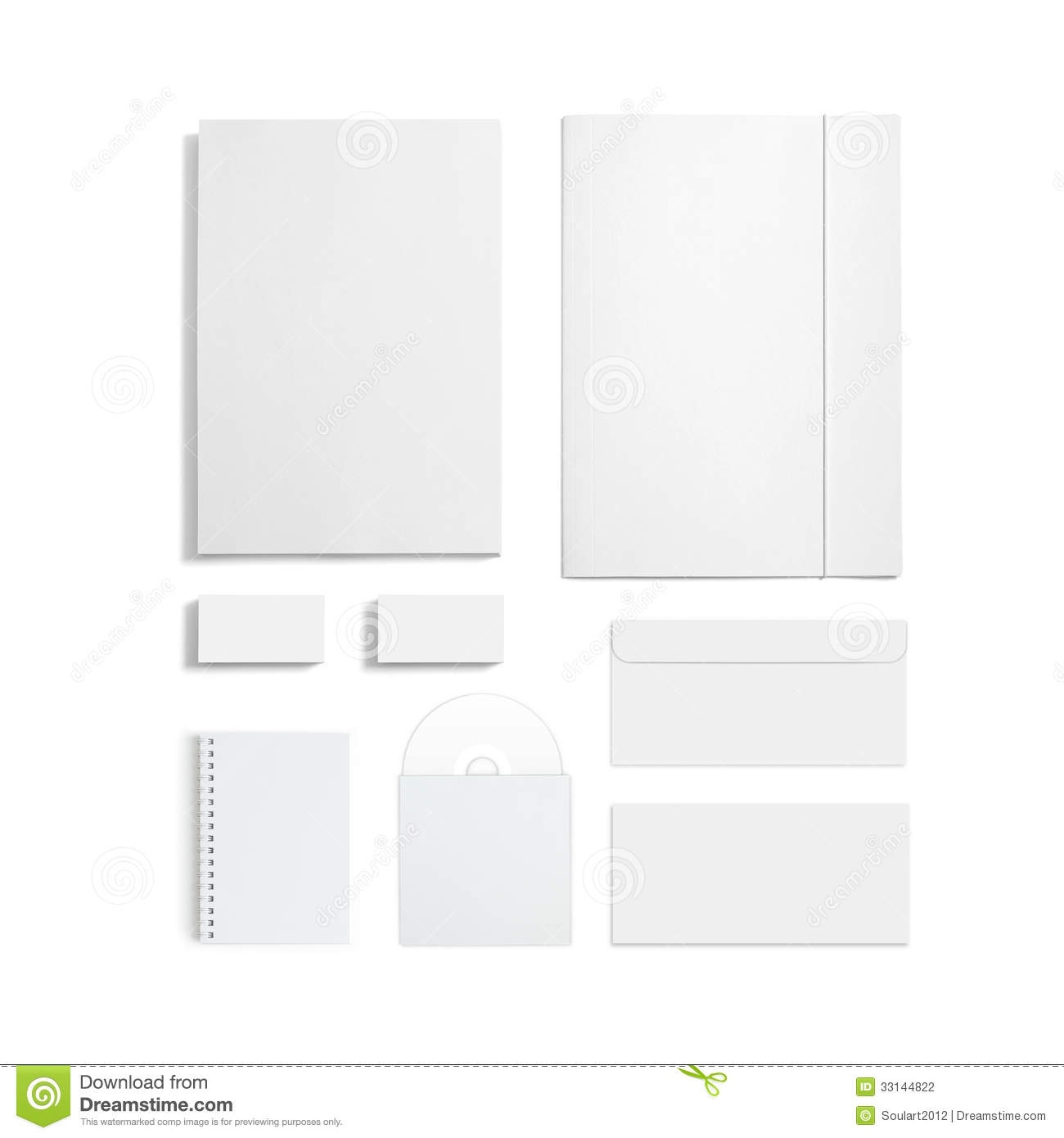 blank stationery set isolated on white stock photo image 33144822. Black Bedroom Furniture Sets. Home Design Ideas