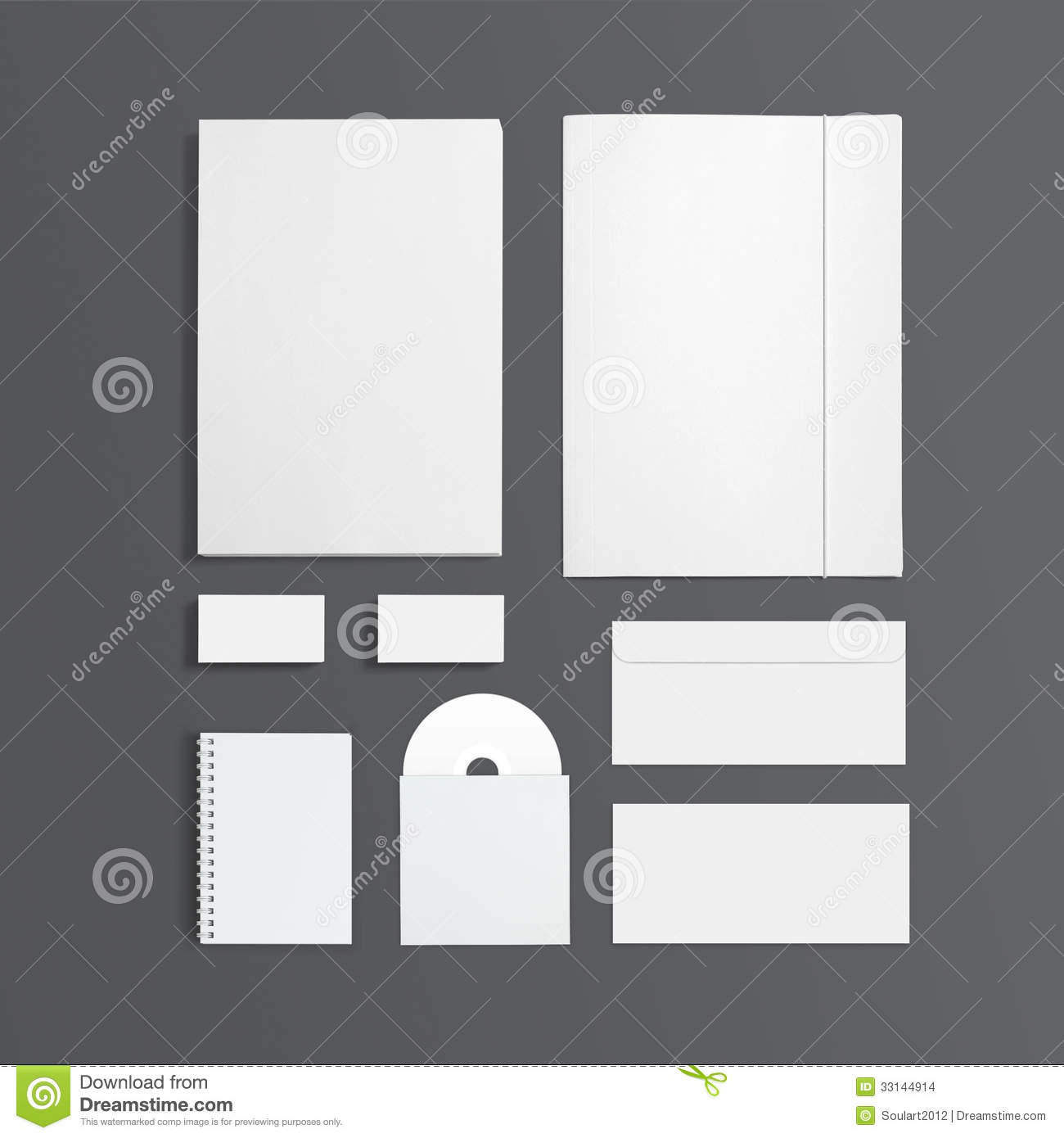 Blank Stationery And Corporate Identity Template Consist: Blank Stationery Template Isolated On Grey Stock Images