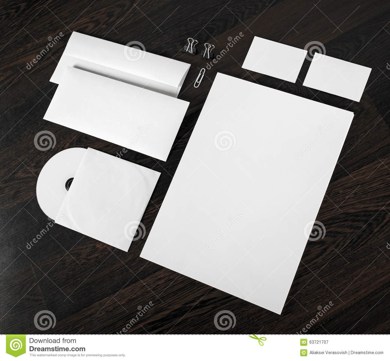 Blank Stationery And Corporate Identity Template Consist: Blank Stationery On Wooden Background Stock Photo
