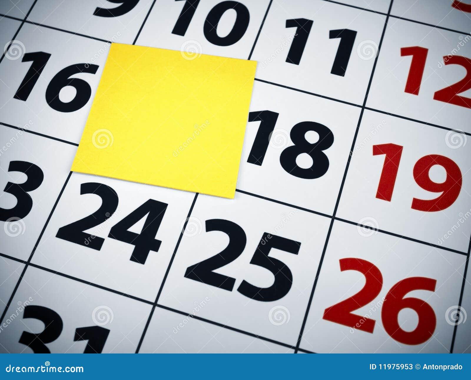 Weekly Calendar Sticky Notes : Blank sticky note on a calendar stock photos image