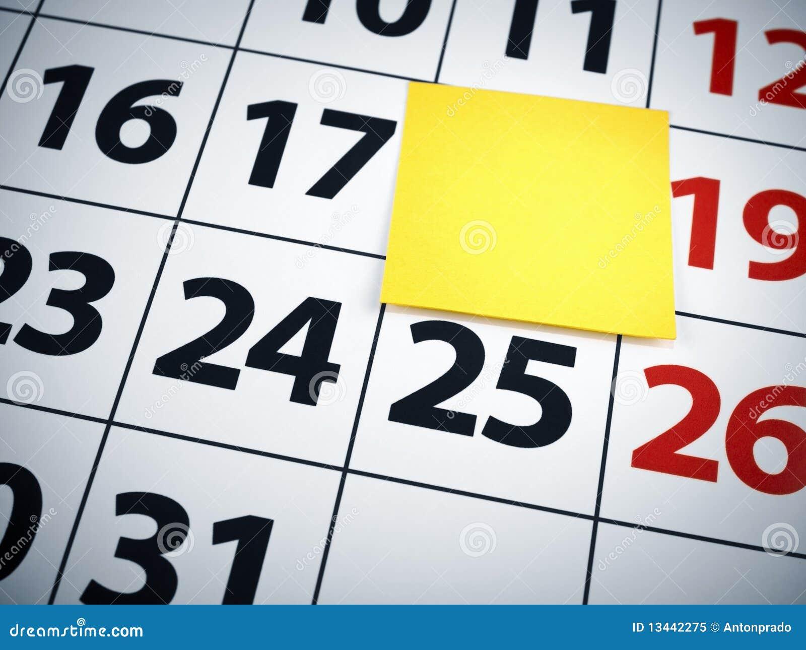 Weekly Calendar Sticky Notes : Sticky note on calendar stock image cartoondealer