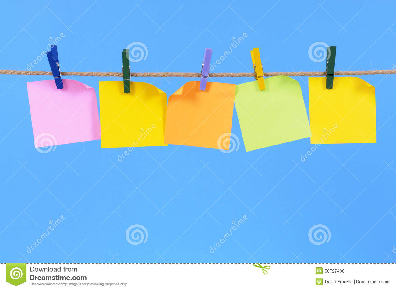 row of blank post it sticky notes on a rope copy space stock photo image 50727400. Black Bedroom Furniture Sets. Home Design Ideas