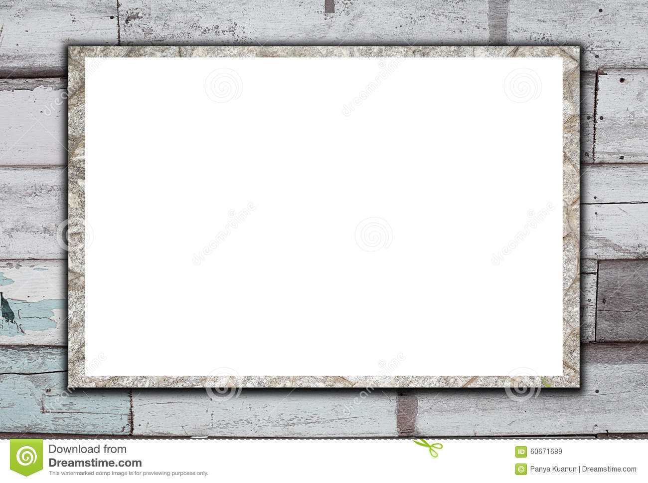 Blank stone billboard on Old Wood Background.