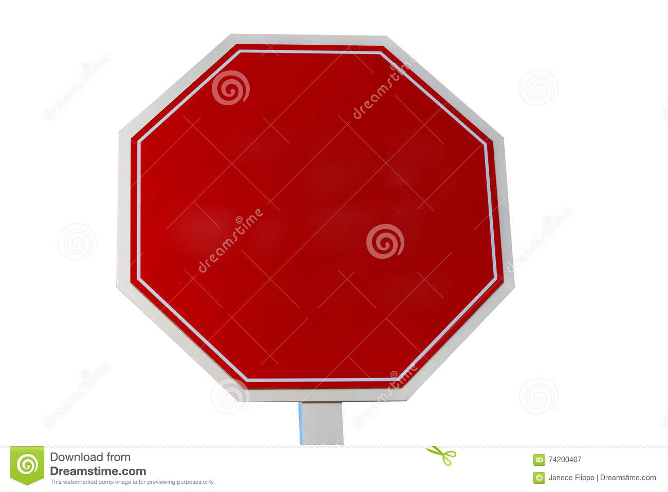 Blank Stop sign on white stock image  Image of caution