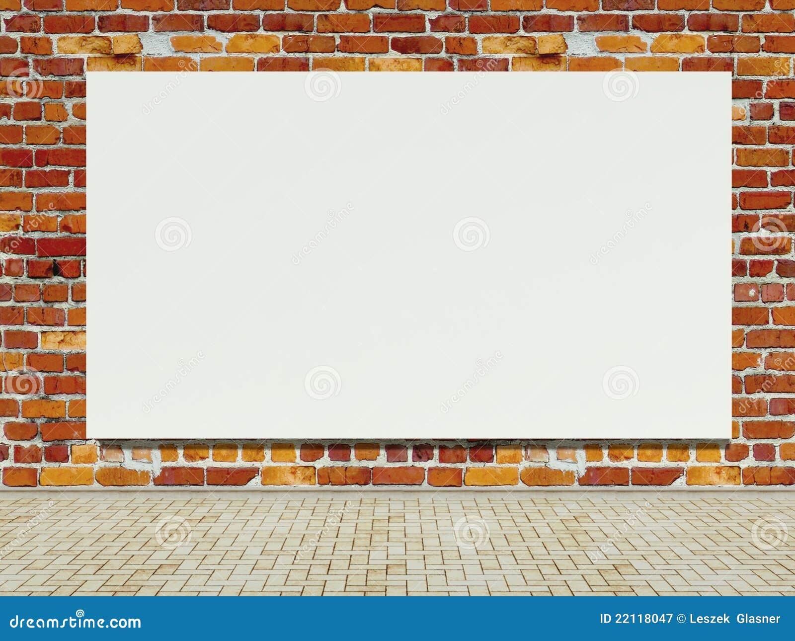 Blank Street Advertising Billboard On Brick Wall Royalty