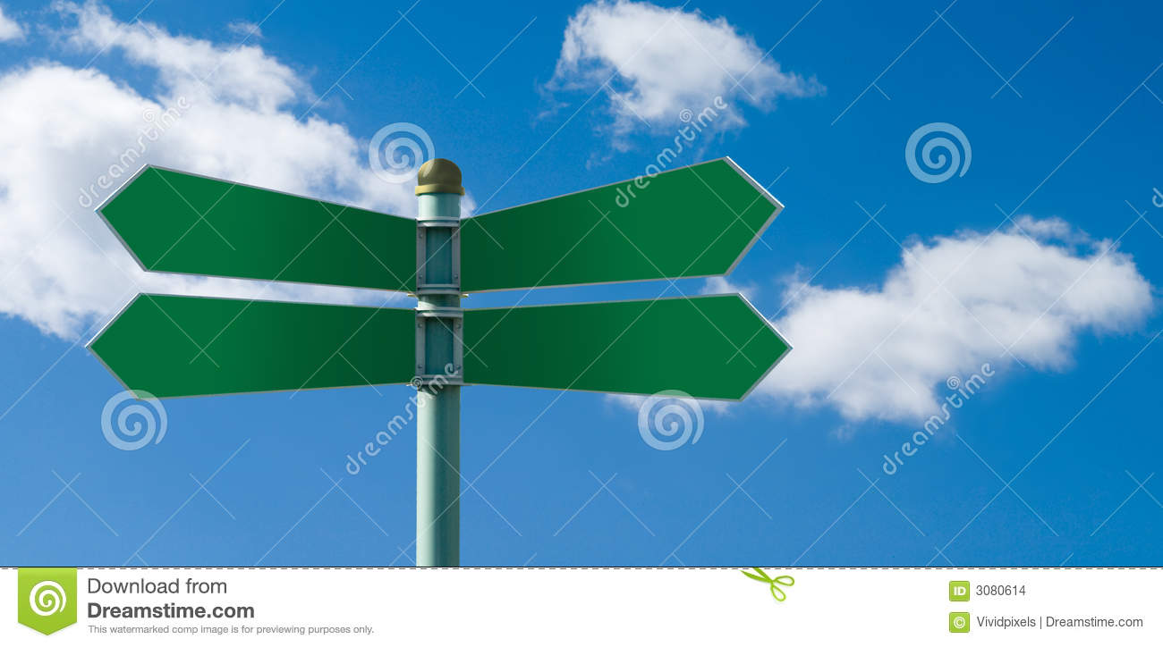 Blank street sign post with 4