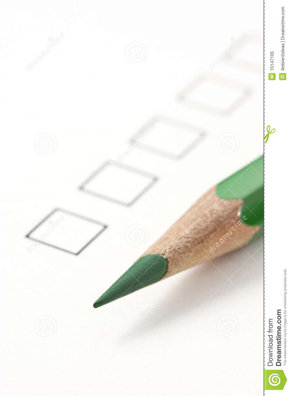 Blank Survey Check Box With Green Pencil Royalty Free Photo – Blank Survey