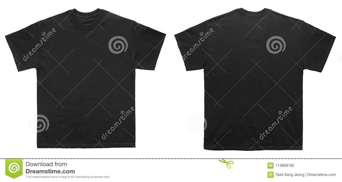 8acb59459 Blank T Shirt color black template front and back view on white background