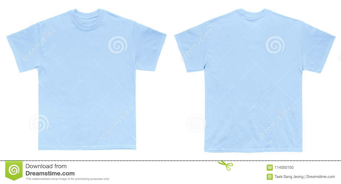 Blank T Shirt Color Light Blue Template Front And Back View Stock
