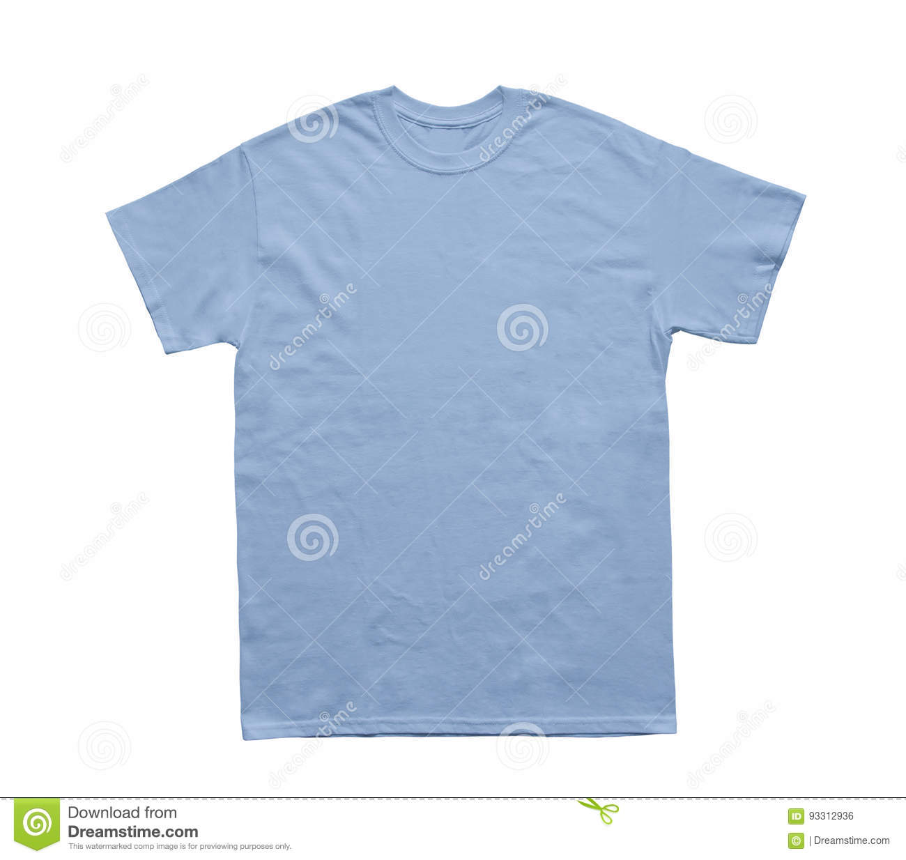 Blank T Shirt Color Light Blue Template Stock Photo Image