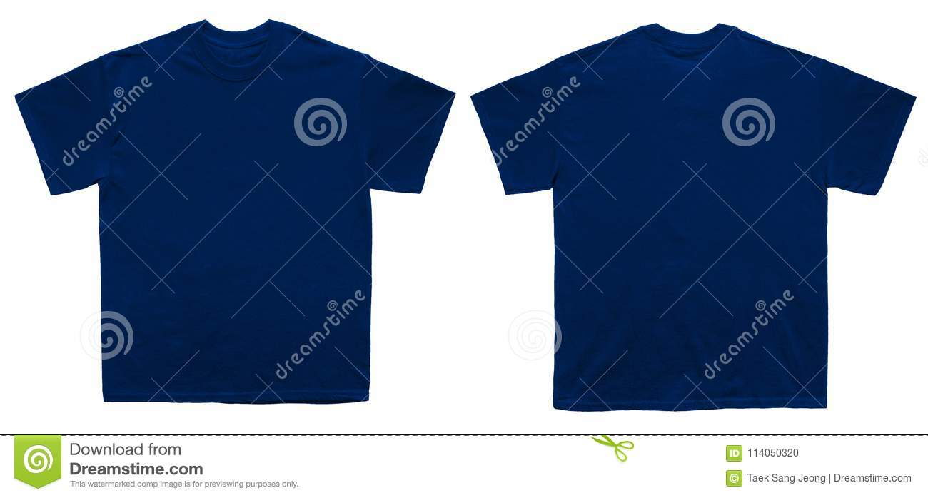 Blank T Shirt Color Navy Template Front And Back View