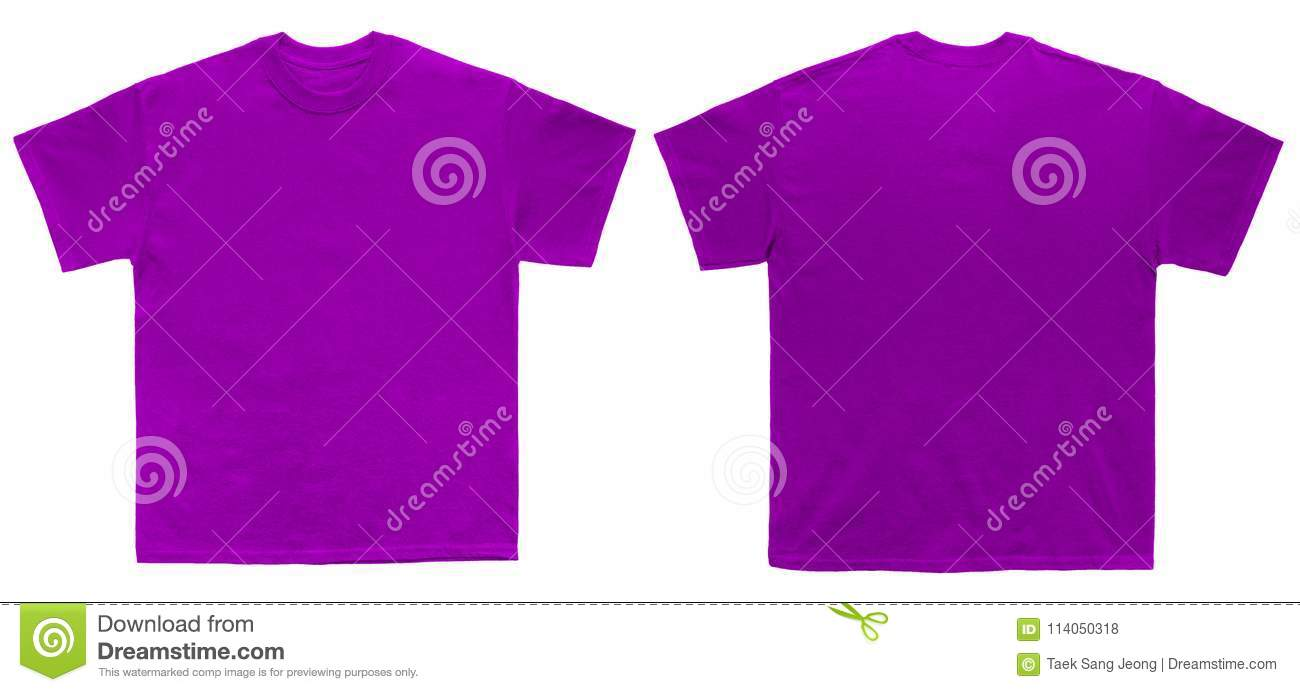Blank T Shirt Color Purple Template Front And Back View Stock Photo ...