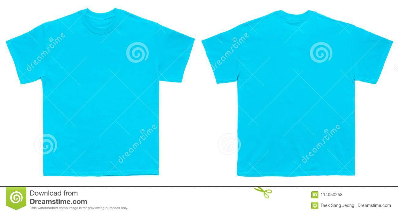 Blank T Shirt Color Sky Blue Template Front And Back View Stock