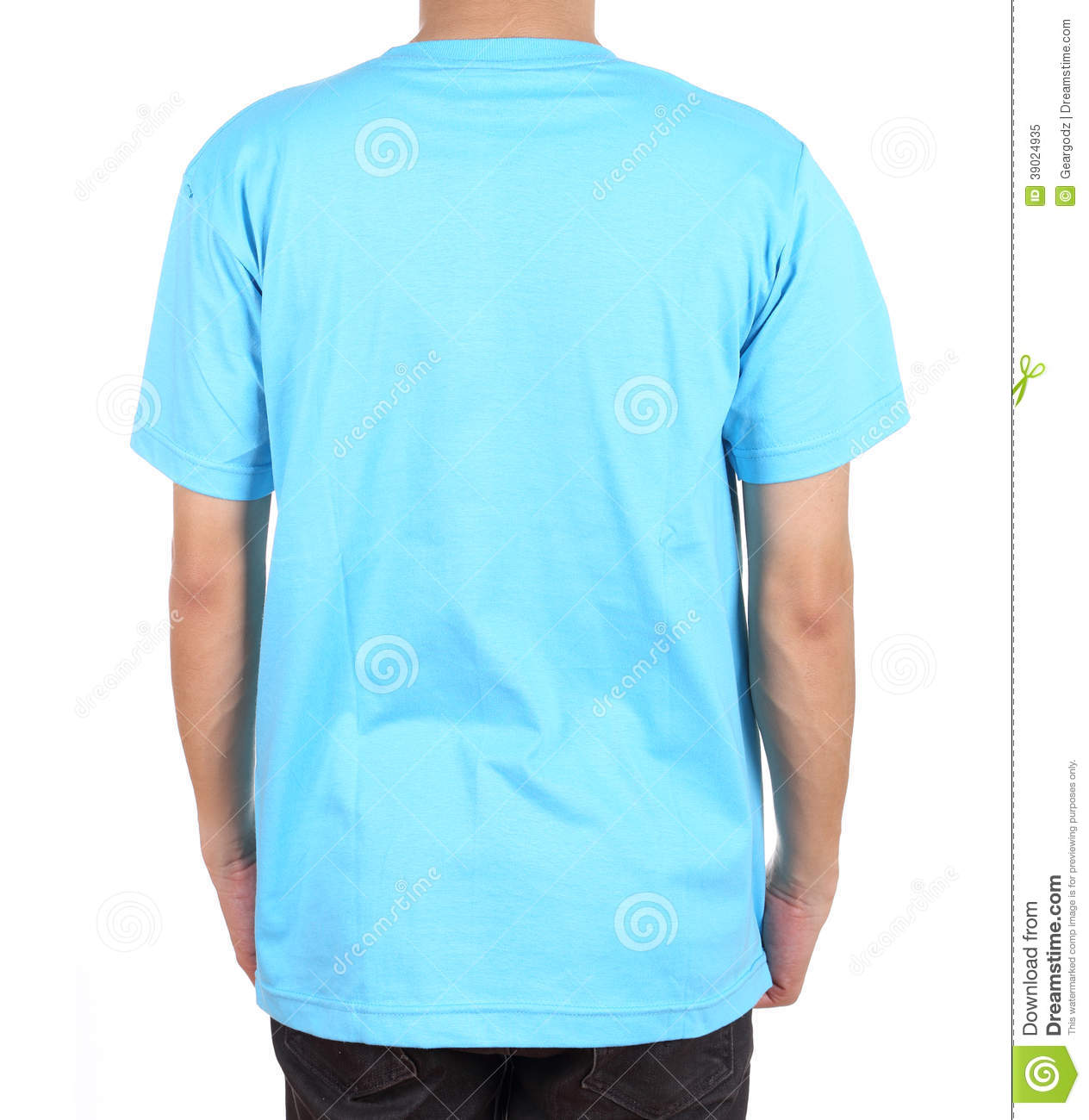 Blank T Shirt On Man Back Side Stock Image Image Of