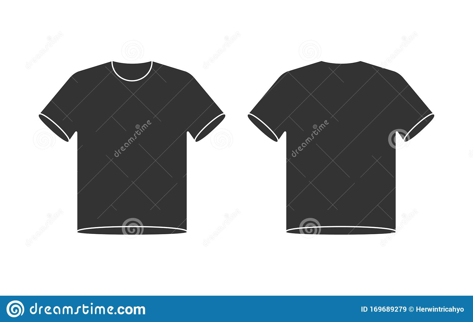 Blank T Shirt Mockup Front And Back View Shirt Template Black And White Vector Illustration Stock Vector Illustration Of Shop Blank 169689279