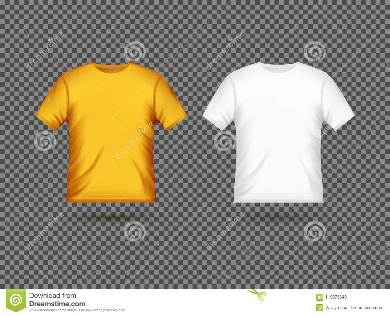 Blank T Shirt Template Clothing Fashion White And Yellow Design With Sleeve Cotton