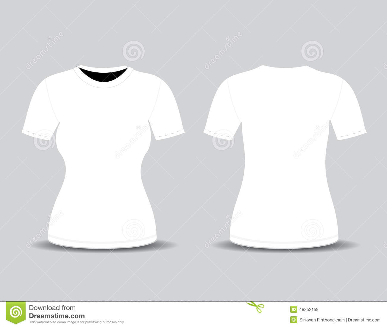 Blank T Shirt Template Front And Back Views Stock Illustration