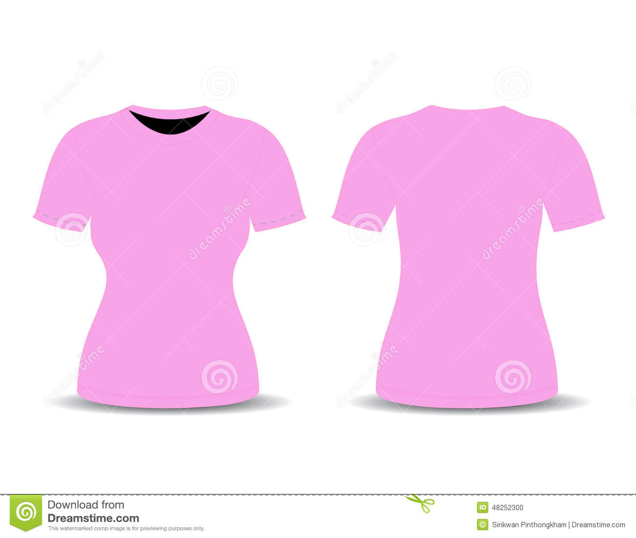 Blank T Shirt Template Front And Back Views Stock