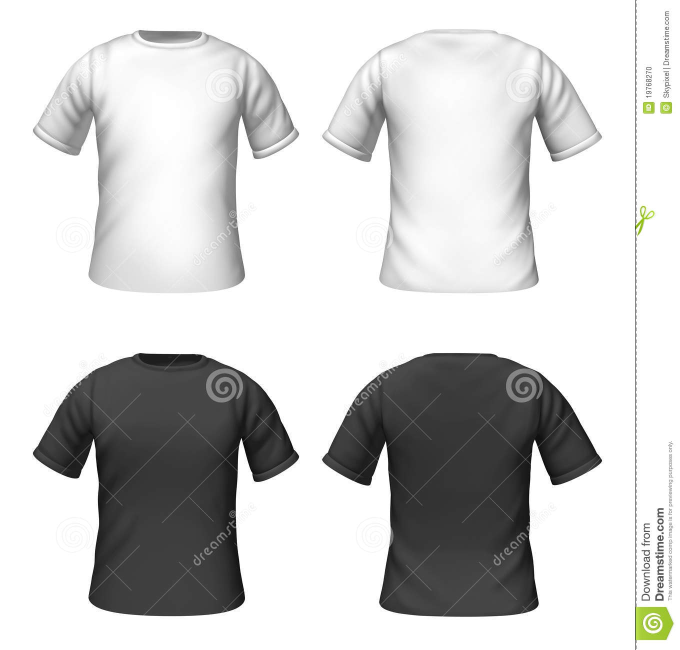 Blank black t shirt front and back - Blank T Shirts Template With Black And White Color Stock Photo