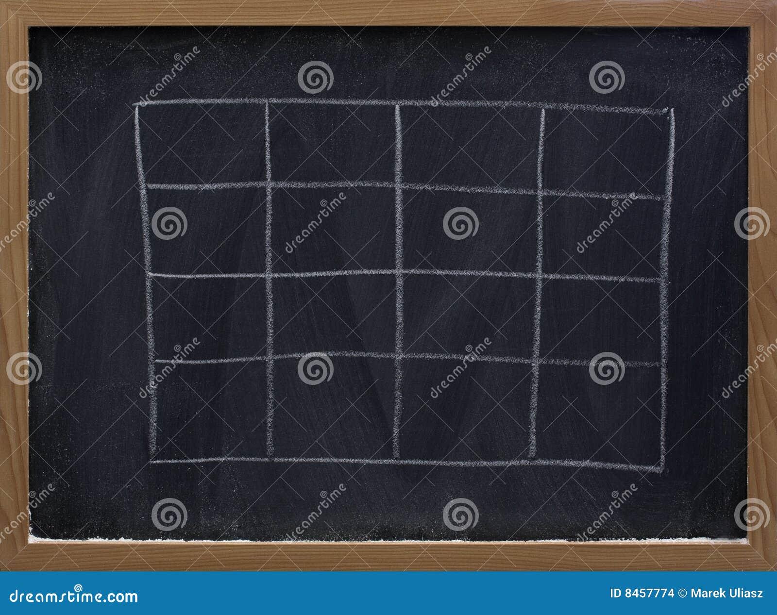 Blank tabell för blackboard
