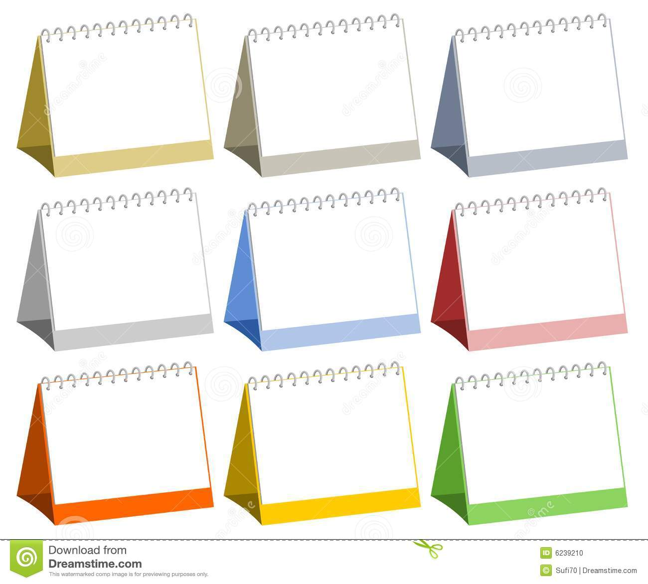 Vector illustration of colorful blank table calendars.