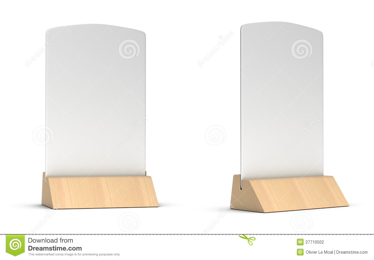 Blank table tent sign in two different positions for restaurant ...