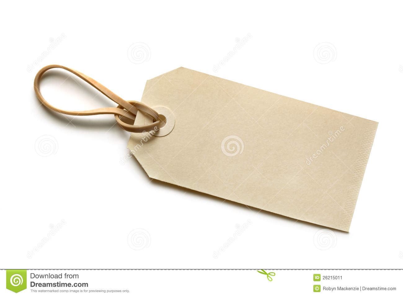 Blank Tag With Elastic Band Stock Image Image Of Gift