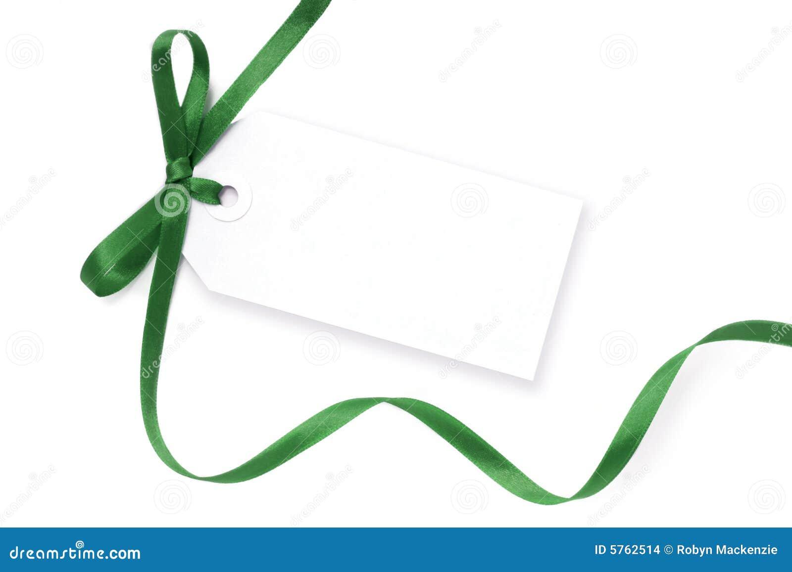 Blank Tag with Green Ribbon