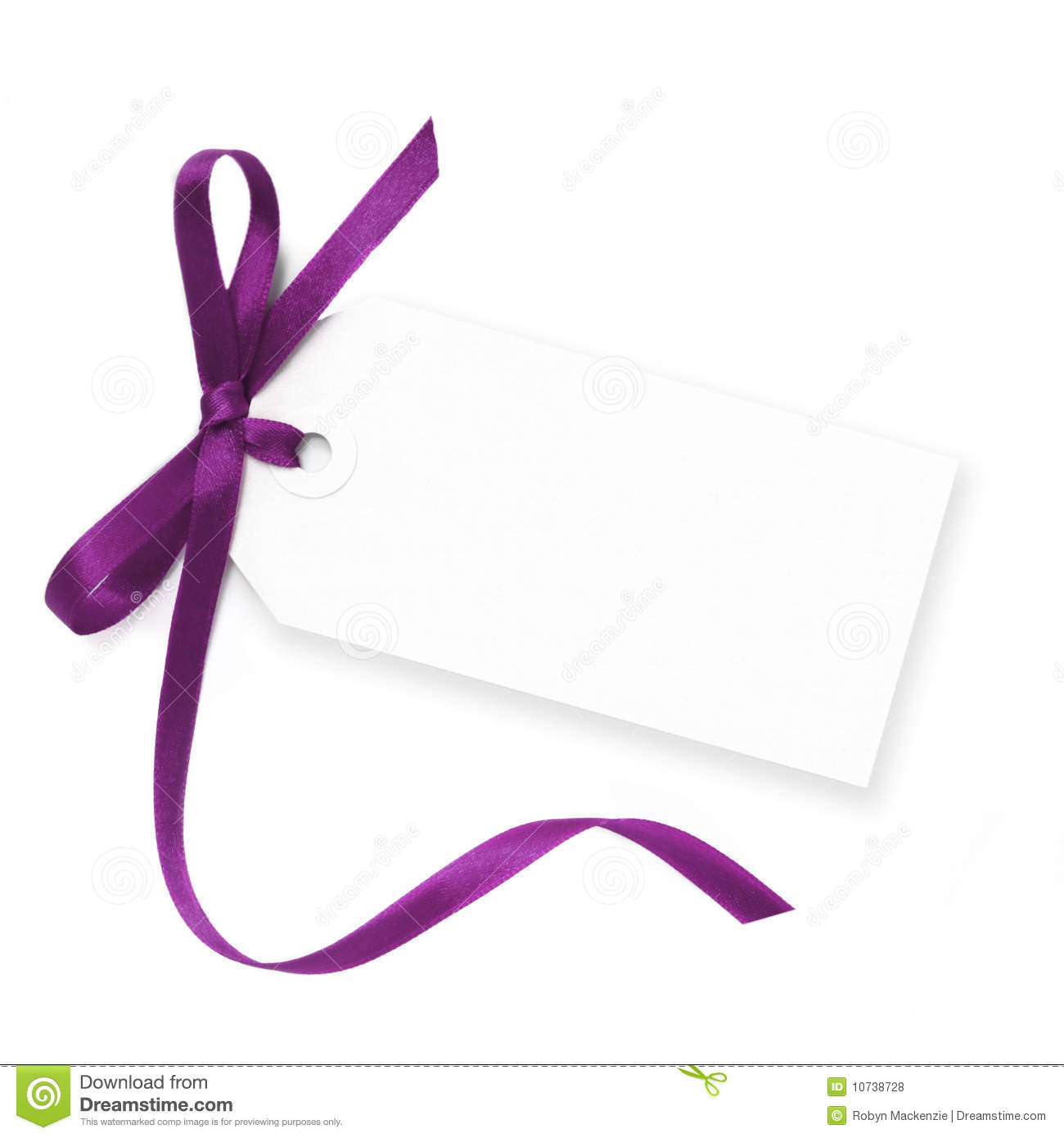 blank tag with purple ribbon stock photo