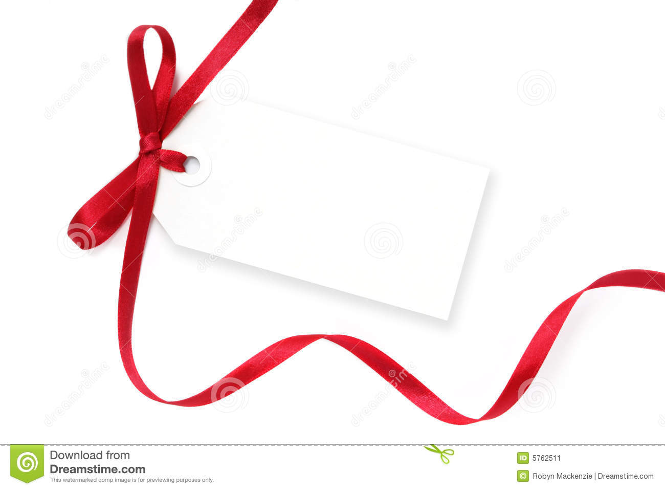 Blank gift tag tied with a bow of red satin ribbon. Isolated on white ...