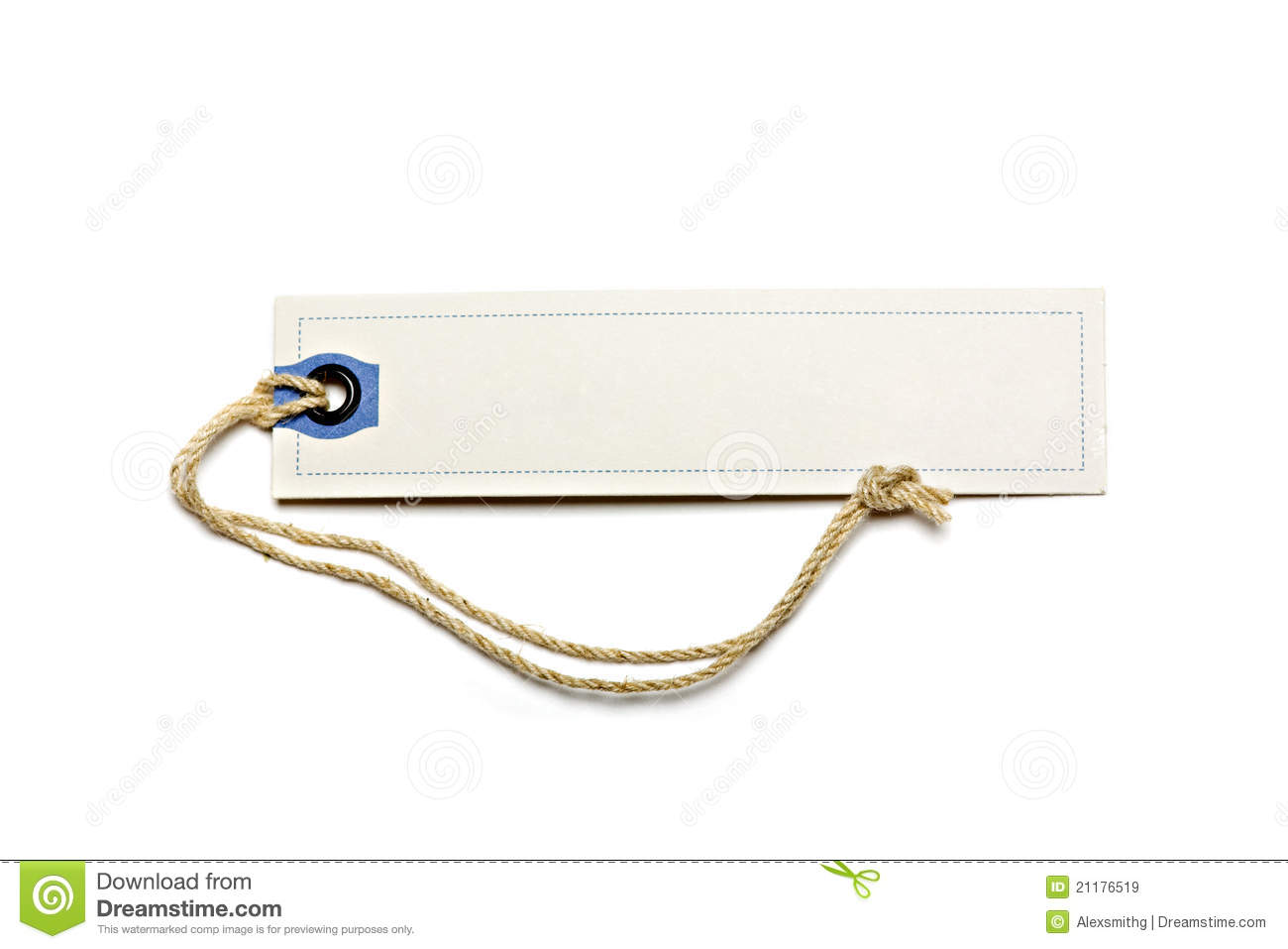 Blank tag tied with brown string.