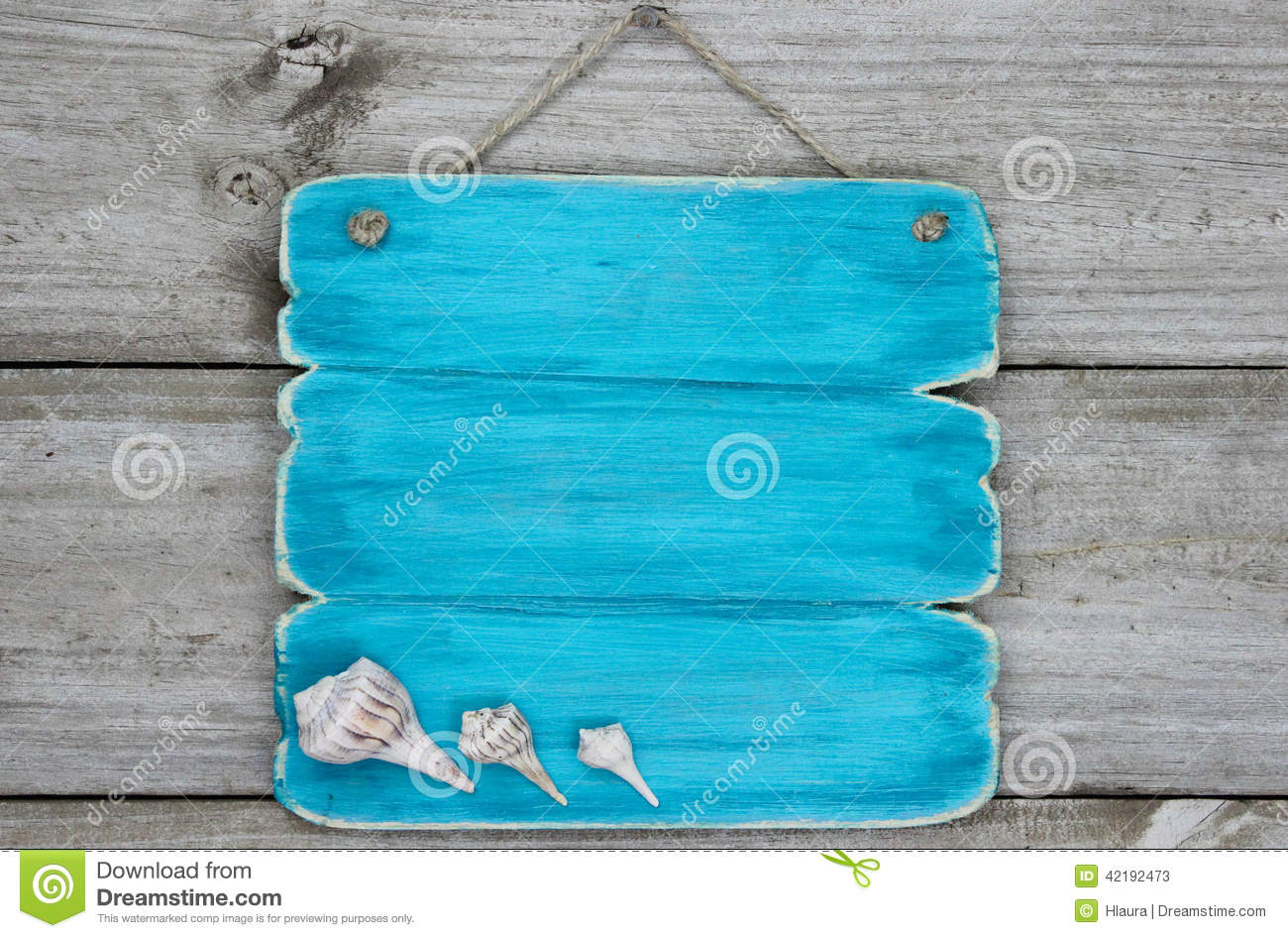 Blank Teal Blue Sign With Seashells Hanging On Rustic