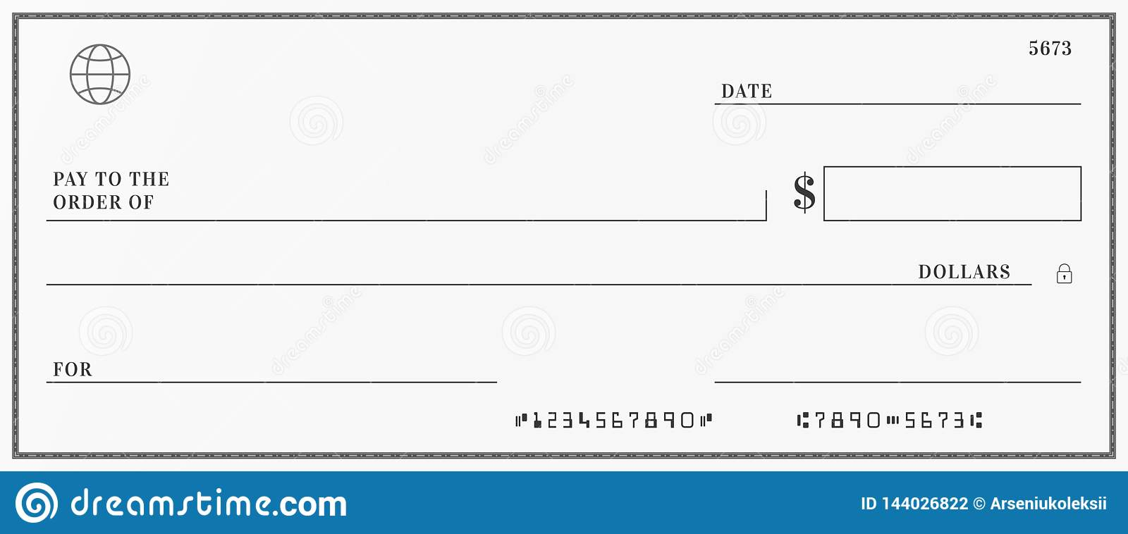 blank template of the bank check stock vector. Black Bedroom Furniture Sets. Home Design Ideas