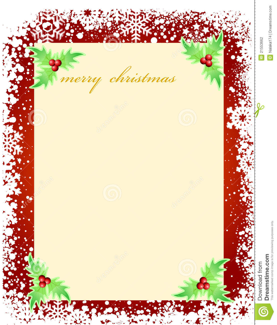 Stock Photography: Blank template for Christmas greetings card. Image ...