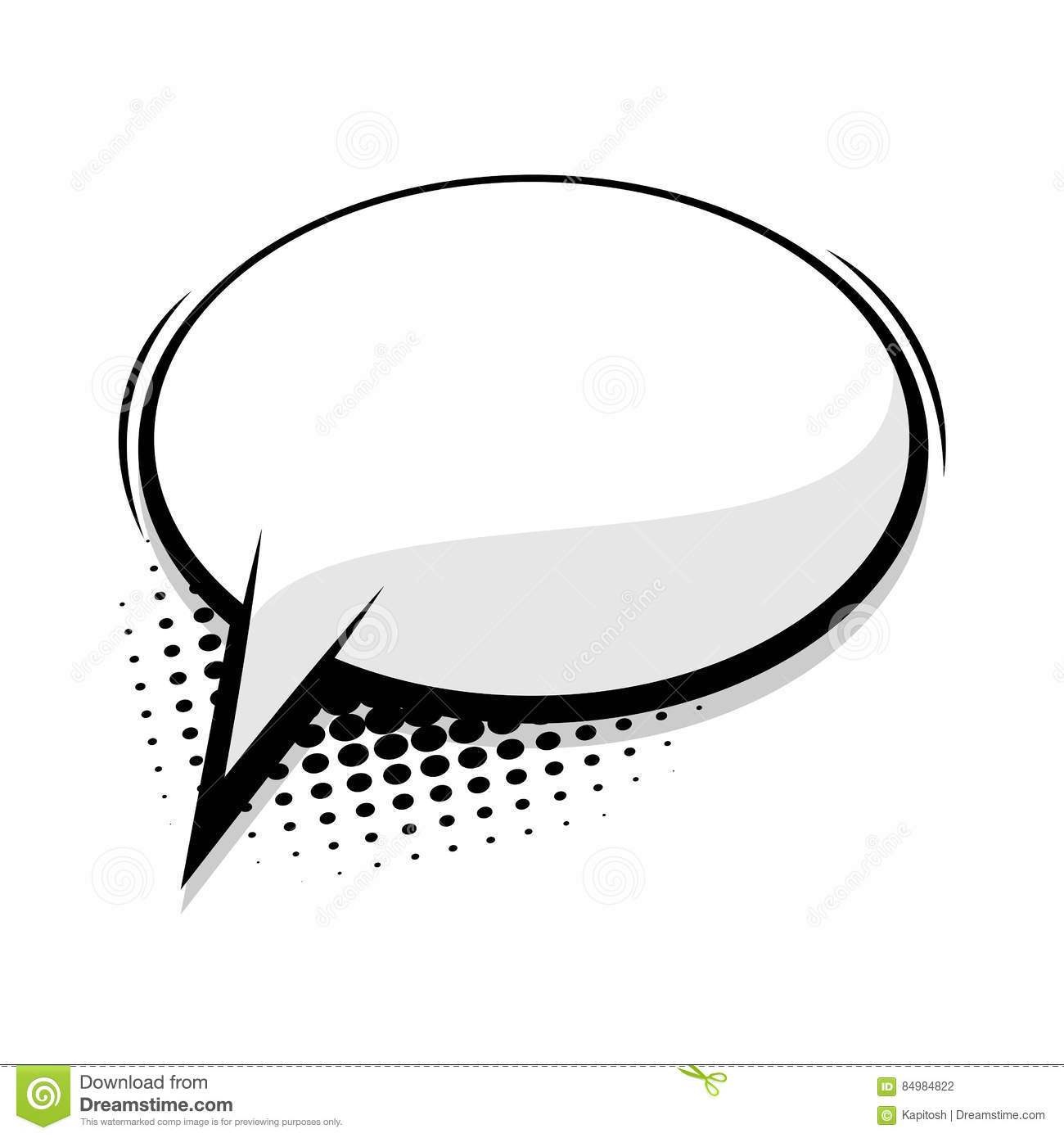 blank template comic speech round bubble stock vector illustration