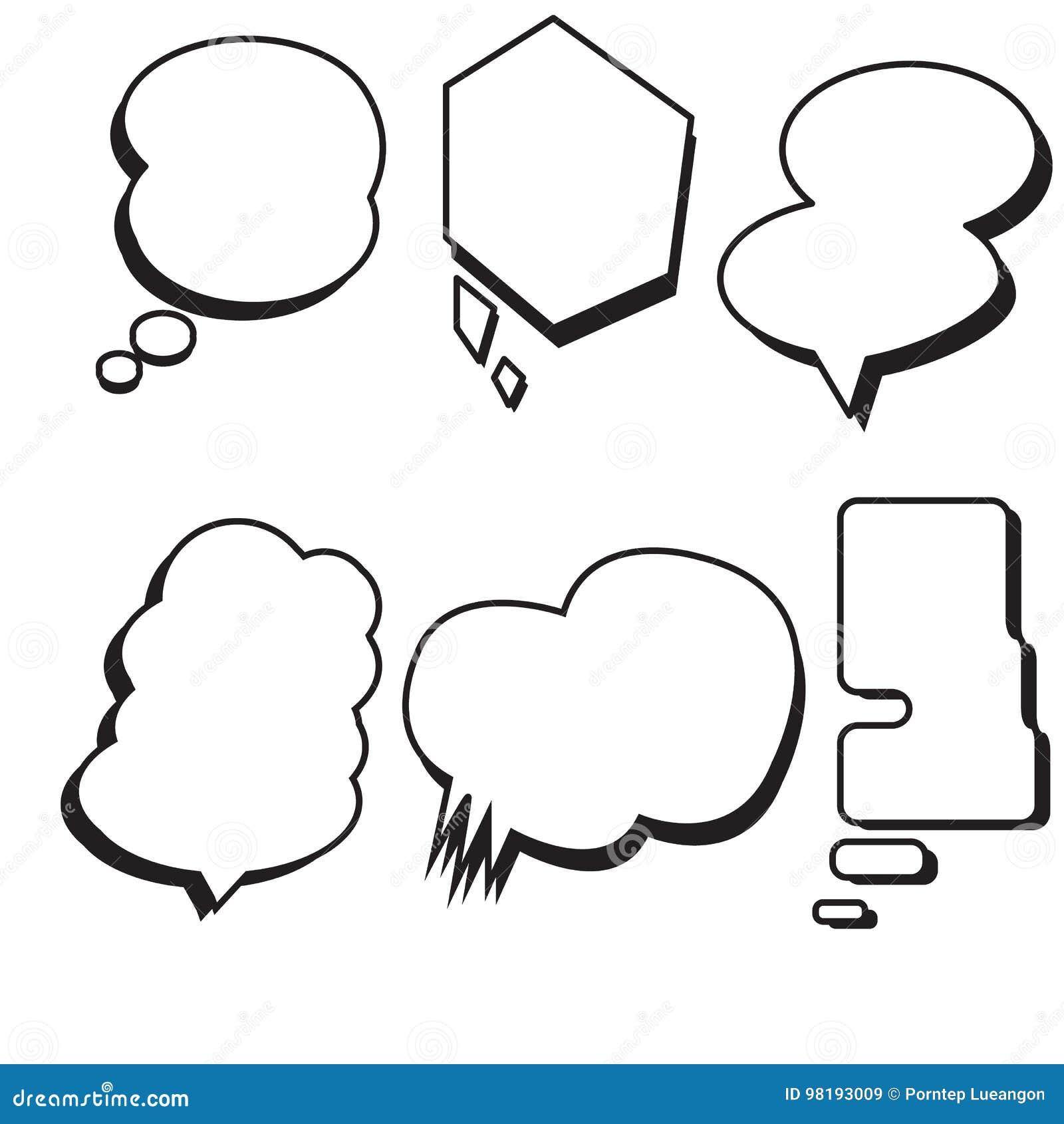 Blank Template Comic Text Speech Bubble Set Vector Stock Vector
