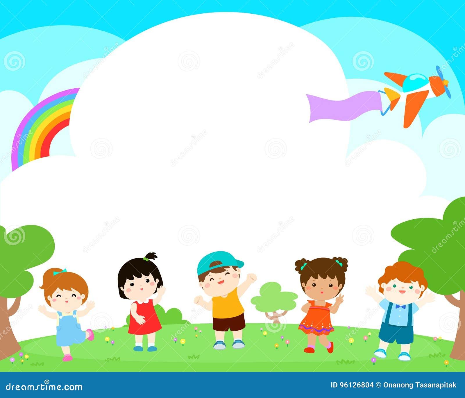 blank template happy kids poster design stock vector image