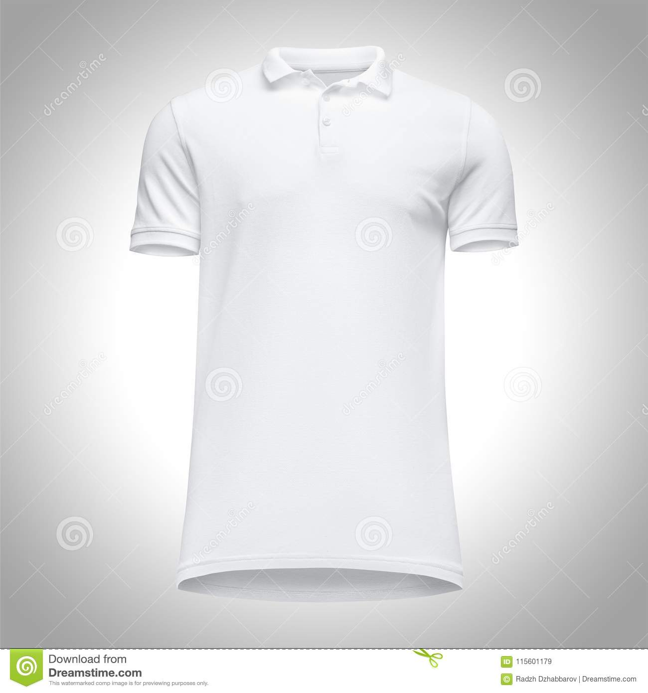 ab878182 Blank template men white polo shirt short sleeve, front view bottom-up, on